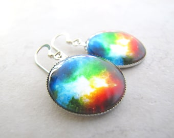 Galaxy Earrings, Space Earrings, Nebula Earrings, Cosmos Earrings, Rainbow Earrings, Star Earrings