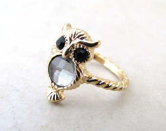 Owl Ring, Gold Owl, Owl Jewelry, Midi Ring, Crystal Owl, Owl Jewelry, Harry Potter, Familiar, Geekery, Bird Lovers, Birds of Prey
