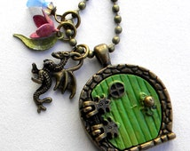 Hobbit Necklace, Hobbit Door Necklace,  Hobbit Locket Necklace,  Middle Earth,   Hobbit Jewelry,Hobbit hole Necklace,  Bilbo Necklace