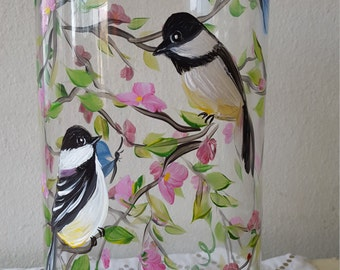 Chickadee and cherry blossoms, vase, gift for her, mothers day