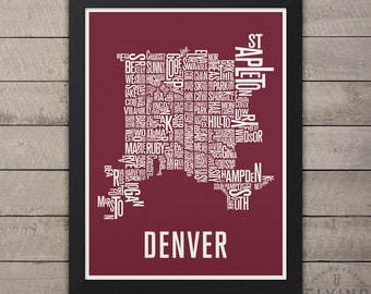 Denver typography map, denver neighborhoods print, denver map art, denver gift, denver city print