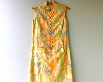 1960s Vintage Neon Floral Asian Style Dress // Size Xs