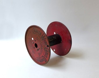 ON SALE Vintage mid century industrial red Canada Wire metal cable spool