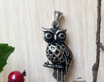 3D Owl on Branch Stainless Steel Pendant