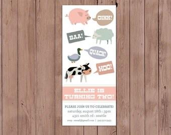 Farm Animal Theme Birthday Invitation - You Print (Digital File) or We Print