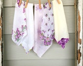 Lavender Vintage Hankies, Vintage Hanky Lot, Hankies, Yellow and Lavender, Purple Hankies, Yellow Hankies Lot