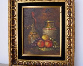 Fabulous Original Vintage Oil Painting of Fruit Vase and Wine Bottle ~ Still Life ~ Signed T. Grant ?