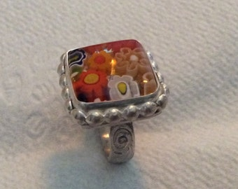 Sterling silver millefiori Venetian glass ring
