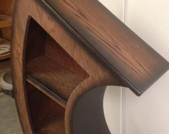Handmade 5.5ft Curved Bookshelf Oak Stained/Blk