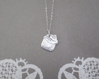 Treat - Sterling Silver Handmade Cupcake Pendant Necklace in Pure Silver