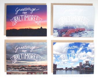 Baltimore Card - Greetings from Baltimore Note Card Set - Set of 8 Cards