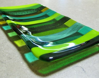 Cool Greens Striped Fused Glass Platter.