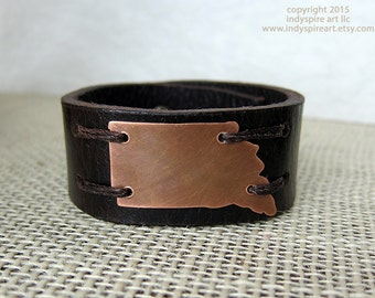 Indiana Bracelet: State Outline on Leather Bracelet.