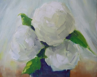 Original Oil - hydrangea painting - white flowers blue vase - still life floral - garden flowers - flowers in vase - fine art painting