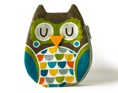 Owl Coin Purse, Cotton, brown