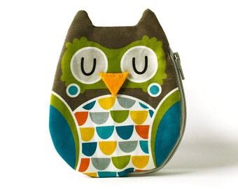 Owl Coin Purse, Cotton, brown