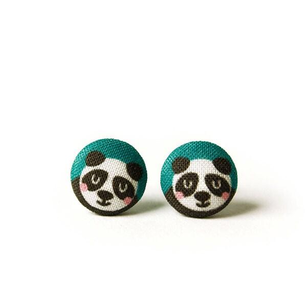 ohrstecker panda knopf ohrringe stoffknopf. Black Bedroom Furniture Sets. Home Design Ideas
