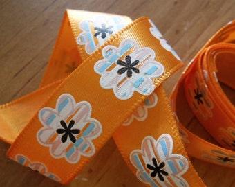 Orange with Striped Flowrs Ribbon 4 Feet