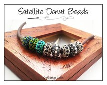 Beading Pattern, Instructions, Tutorial, Right Angle Weave, RAW, Small Donut Beaded Slider Beads,  Instant Download SATELLITES