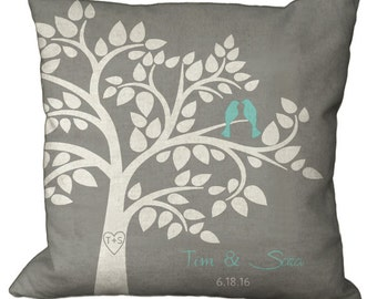 Couples Bird Tree with Heart and Initials in Choice of 14x14 16x16 18x18 20x20 22x22 24x24 26x26 inch Pillow Cover