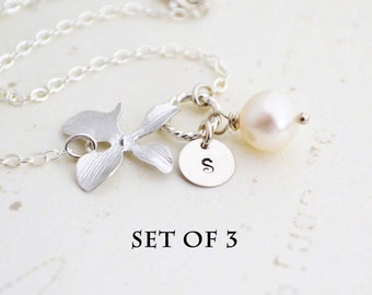 DISCOUNTED Set of 3 Personalized Charm, Silver Orchid Flower Bracelet, Freshwater Pearl, Sterling Silver, Bridesmaid Gift, Wedding Jewelry