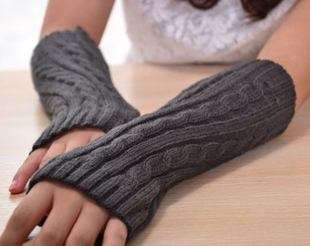 Grey knit arm warmers fingerless gloves