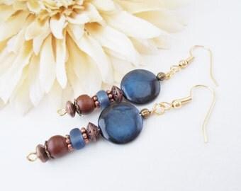 Bohemian Earrings, Navy Blue Earring, Mother of Pearl, Boho Jewelry, Clip On Earrings, Copper Earrings, Dark Blue Czech Glass Earrings
