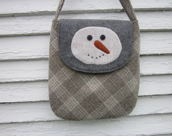 Snowman crossbody bag, wool purse