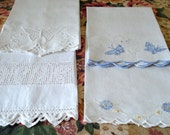 Lot of 4 Vintage Hand Towels butterflies cupie doll filet lace