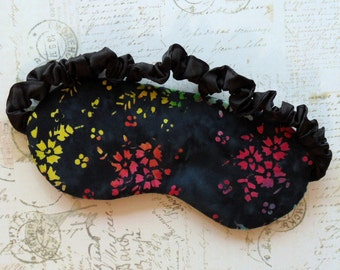 Batik Floral Sleep Mask // Cotton & Satin Eye Mask