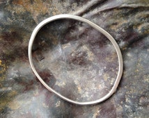 Silver Hammered Organic Shape Bangle - Inspiratied by Henry Moore - Women's large bangle or men's small bangle 21.3 cm circumference