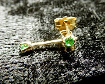 Tiny little emeralds in 14kt gold ear studs (May birthstone)