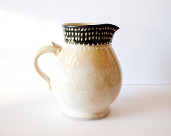 Ceramic Pitcher Polka Dot Rim and White, Handmade Wheel Thrown Pottery by RiverStone Pottery