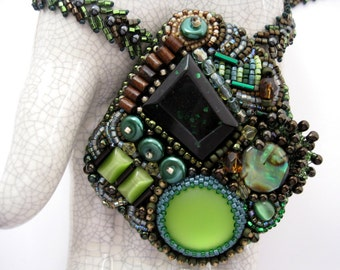 Wildwood - Bead Woven Embroidered Necklace OOAK Green Brown FREE S&H