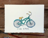 Ride Bikes.  A signed original pencil and watercolor drawing.