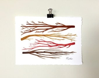 Sticks No. 8.  A signed original nature pattern watercolor painting.