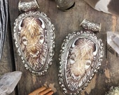 "Buffalo in Bone, Silver Bezel Set, Refief Carved Pendant, Bohemian, Western, Inspired Jewelry Making, Fashion, 3.75"", 1 pc"