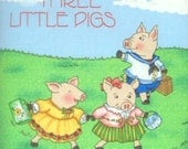 Mary Engelbreit Fabric Book Panel -  3 Little Pigs Nursery Rhyme - Quilt Blocks - Appliques - Mother Goose