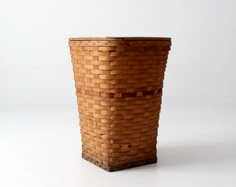 vintage hamper basket, woven hamper with lid