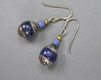 Vintage Lapis Earrings, Tibetan Bead, Lapis Lazuli, Sterling Dangle Earrings, Boho, Hippie