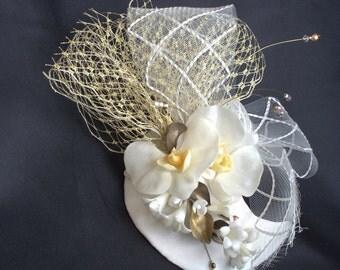 Wedding Birdcage Special  Headpiece  - Sophisticated  Brides- Bride Fascinator- MOON WITH ORCHID -