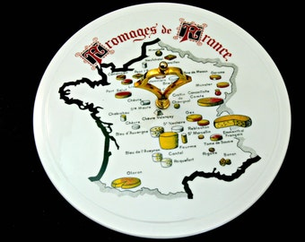 Porcelain Cheese Server Platter - Fromages de France - Vintage French Serving Plate with Gold Handle