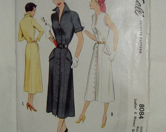 Vintage McCall Pattern, Tailored Dress, Size 18, Circa 1950