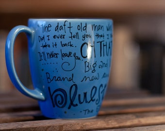 "Ode to the TARDIS - Doctor Who Eleventh Doctor Quote Mug ""Brand new and ancient, and the bluest blue ever."" Medium blue mug w TARDIS"