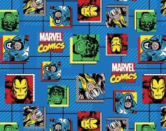 Springs Creative. Marvel Retro Comics Block - By the yard - Choose your cut of fabric