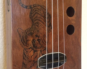 Vintage Painted Electric Cigar Box Ukulele UKELELE Uke JunkYard Dog number SIX with added tattoo tiger action