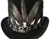 Tall Black Top Hat Studded Skull Gothic Steampunk Voodoo Victorian Gentleman Mens Formal
