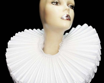Ruffled Collar White Satin Huge Tall Wide Elizabethan Neck Ruff Victorian Steampunk Gothic Edwardian