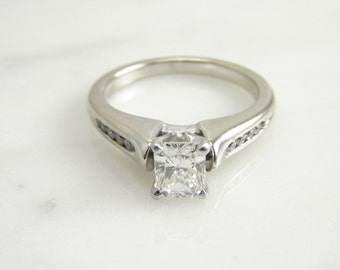 Vintage 14 White Gold INTERNALLY FLAWLESS Radiant Cut Diamond Engagement Ring Size 6.75/ Appraisal Included