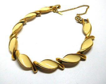 Vintage gold/Cream enamel MONET bracelet Links 60s fashion Mod Mother Prom Spring
